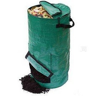 Ez4garden Reuseable Heavy Duty Garden Leaf Waste Bag Yard Compost Bin Composting Fruit Kitchen Waste Fermentation Cali Secrets Growers 50L,Dark Green