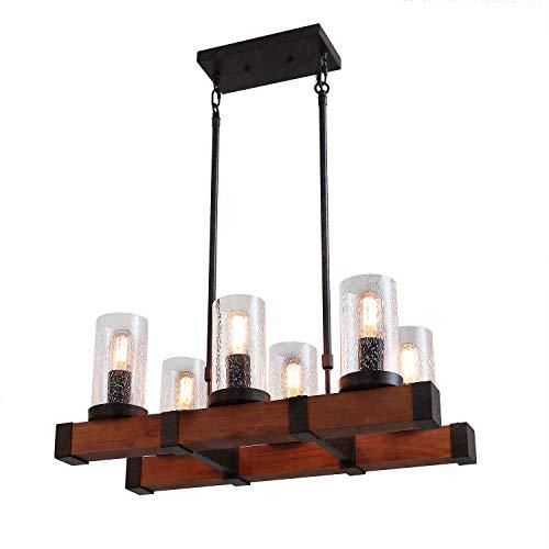 Anmytek Metal Wood and Glass Chandelier Pendent Light Retro Rustic Loft Antique Lamp Edison Vintage Pipe Sconce Decorative Light Fixtures and Ceiling Light Luminaire (Six Lights)