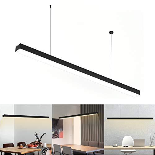LED Pendelleuchte Schwarz, Hängeleuchte,Büro Pendelleuchte LED Hängeleuchte, Moderne Hängelampe, Warmweißes Licht, 95cm, 3000 Kelvin