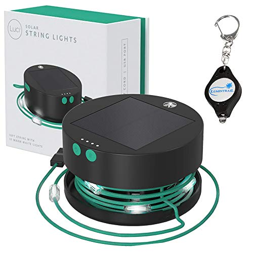 MPOWERD Luci Solar String Lights & Mobile Charger Bundle with a Lumintrail Keychain Light