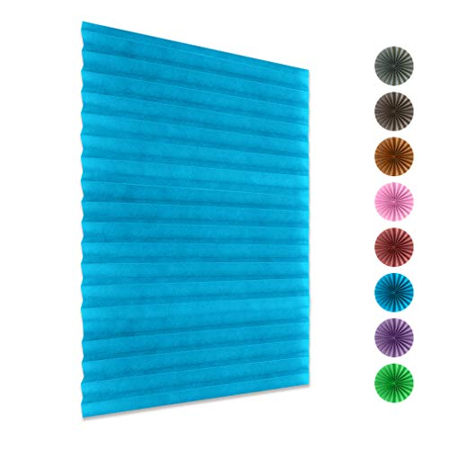DONGMING Cordless Pleated Blind Curtain Half Blackout Self Adhesive Window Curtain Door Wall Panel for Bathroom Balcony Shade,Blue,150x60cm