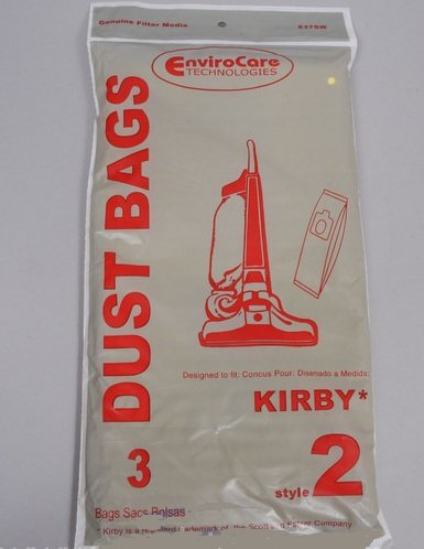 Generic Kirby Style 2 Vacuum Bags, (3- pack) by EnviroCare - for Heritage Upright part # 837SW