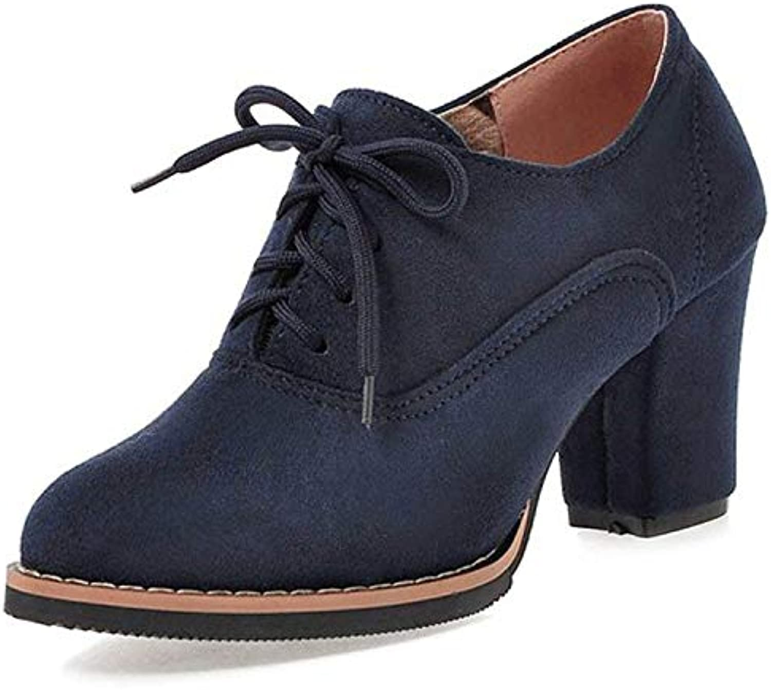 Lace up Boots Women Chunky Heel Large Size Brogue Faux Suede shoes (color   bluee, Size   CA 12)