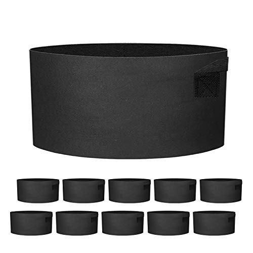 ZGPEPEXIA 10 Pack 20 Gallon Grow Bags - Black Breathable Fabric Pots Heavy Duty Aeration Fabric Pots Thickened Nonwoven Fabric Pots Plant Grow Bags with Handle