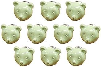 Cartoon dierlijke vorm keramische deur handvat AOOF dressoir keuken kast lade handvat 10 stuks, grijs (groen)
