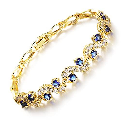 Regalo de cumpleaños de la joyería de la Pulsera de la Pulsera de Cobre Chapado en Oro para mamá Mujeres Esposa niñas Ella,Azul