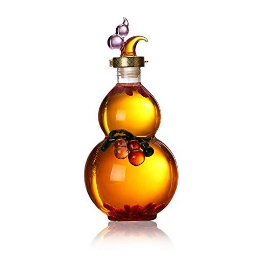 LXTIN Jarra de Whisky con Forma de Calabaza y ndash;Elegante Jarra de Vidrio Hecha a Mano para Licor, Whisky, Ron, Bourbon, Vodka y ndash;Gran Idea de Regalo (tamaño: 3000g)