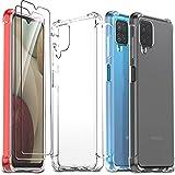 Ferilinso Funda para Samsung Galaxy A12/ M12 + 2 Piezas Cristal Templado Protector de Pantalla [Transparente TPU Carcasa] [10X Anti-Amarilleo] [Anti-Choque] [Anti-arañazos] [9H Dureza]