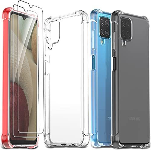 Ferilinso Cover per Samsung Galaxy A12/A12 Nacho/M12 + 2 Pezzi Pellicola Protettiva Vetro Temperato [Transparente TPU Custodia] [10X Anti-Yellowing] [Anti-Antiurto] [Anti-Scratch] [9H Durezza]