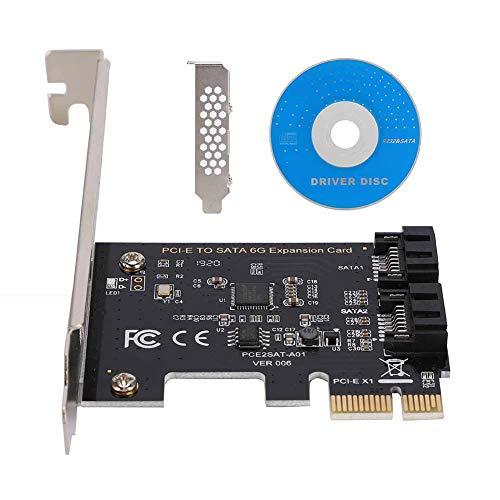 Tarjeta PCI-E SATA de 2 Puertos, PCI Express a SATA 3.0 Tarjeta de expansión de Controlador SATA de 6 Gbps con Soporte, Compatible con Mac/Linux/Windows (R) XP / server2003 / Vista / 7/8 (32 / 64b