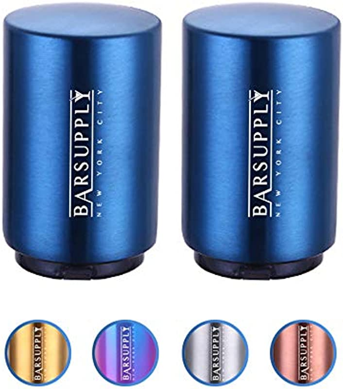 2 Pack Automatic Magnetic Beer Bottle Opener Push Down And Pop Off Cap Opener Magnetic Cap Catcher Stainless Steel Easy To Use Set Of 2 Blue