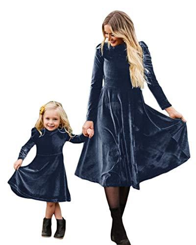ORANDESIGNE Ropa Madre e Hija Igual Vestidos Familia Vestidos Mujeres y niñas Casual Vestido Familia Mangas Estampado Vestido Gris Azul 46 (Mamá)
