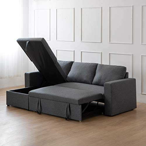 Kingway Sectional Sofa Bed with Storage Convertible Chaise Sofabed, 835336, Gray