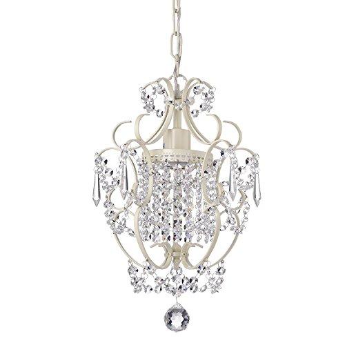 Edvivi Amorette 1-Light Amorette Ivory Finish Mini Crystal Chandelier Wrought Iron Ceiling Light Fixture | Glam Lighting