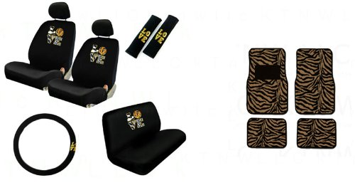 2 Low Back Front Bucket Seat Covers with Separate Headrest Cover, 1 Steering Wheel Cover, 2 Shoulder Harness Pressure Relief Cover,1 Bench Cover, 2 Front and 2 Rear Floor Mats - Love Safari with Zebra Tan Floor Mats