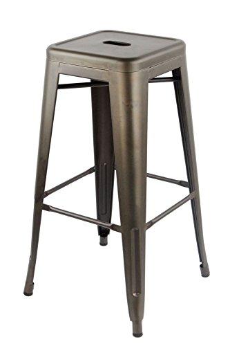 ARREDinITALY -Set mit 4 hohen stapelbaren Hockern aus Metall im Industrial-Stil Tolix - Nachbildung aus Metall