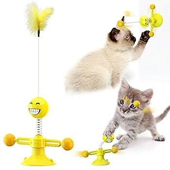 jouet pour chat, jouets pour chats d'intérieur interactifs, balle de jouet pour chat, plume de jouet pour chat, jouet interactif pour chat , Interactif Moulin à Vent Jouets pour Chat. (Jaune)
