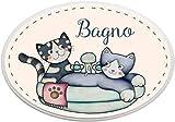 L'Angolo delle Idee Targa fuoriporta Ovale Bagno Gatti Animali Idea Regalo