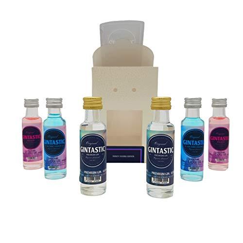 GINTASTIC GIN Tasting Set Trinity, mit 2 x GINTASTIC Pure Gin, 2 x GINTASTIC PinkBerry Gin-Likör und 2 x GINTASTIC GT Gin-Tonic-Likör