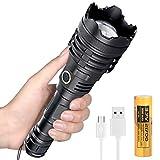 Linterna LED XHP110 Potentes Super Brillante 10000 Lumens, 5 Modos Táctica USB Recargable Alta Potencia Linterna Impermeable para Antorcha Luz para Camping, Senderismo, Emergencia