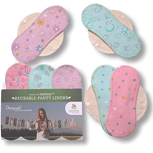 Natissy Salvaslips de tela reutilizables, 7-Pack Protege Slips de algodón con alas HECHAS EN LA UE, Compresas Bio sin PUL, Toallas Sanitarias para el uso diario y flujo blanco, NO para menstruación