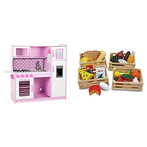"Melissa & Doug Chef's Kitchen, Pretend Play Set, Cupcake (39"" H x 43.25"" W x 15.5"" L) & Food Groups - Wooden Play Food, The Original (Kids Toy Best for 3, 4, 5, and 6 Year Olds)"