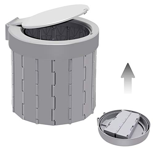Portable Toilet for Camping Travel Toilet Camping Toilet Portable Potty for Adults, Bucket Toilet, Waterproof Portable Folding Toilet for Car/Boat/Hiking/Long Trips (Grey)