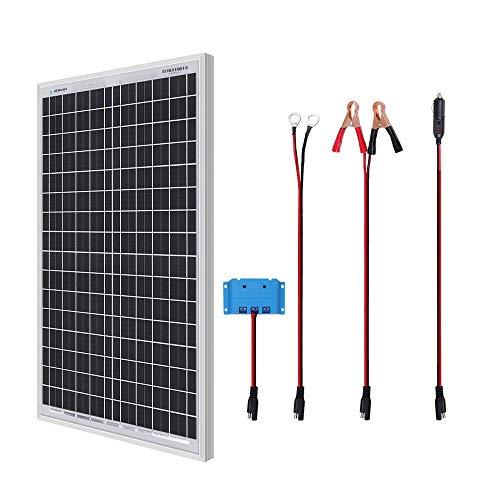 Renogy 30W Solaranlage Basic-Starter Bausatz mit 30W 12V Monokristallin Solarmodul, Solarkabeln und 5A PWM SolarLaderegler mit Anzeige für Camping,RV,Wohnwagen