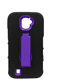 FastSun Hybrid Armor w Kickstand Case Phone Cover for ZTE Jasper LTE Z718TL  Black-Purple