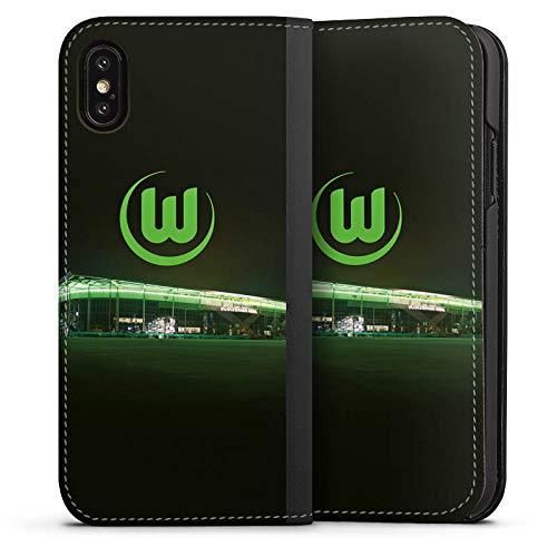 DeinDesign Klapphülle kompatibel mit Apple iPhone X Handyhülle aus Leder schwarz Flip Case Offizielles Lizenzprodukt VFL Wolfsburg Stadion