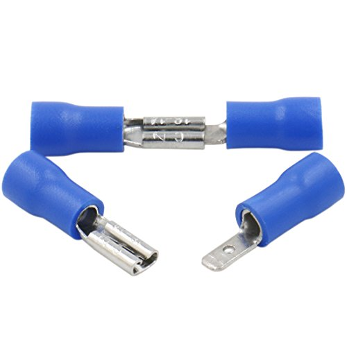 Heschen Kabelschuh männlich/weiblich, Vinyl, isoliert, 2,8 x 0,5 mm, für 1,5–2,5 mm² (16–14 AWG), Blau, 100 Stück