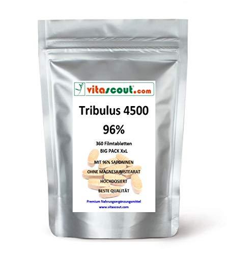 Tribulus Terrestris Extrakt - 360 Tabletten á 750mg - HOCHDOSIERT EXTRASTARK mit 96{40e9e4b657a6fa42338fb1d6d5b05b2910b4616c4bc8122f75f2b502f35b0404} Saponinen - PREMIUMQUALITÄT OHNE MAGNESIUMSTEARAT von VITASCOUT®