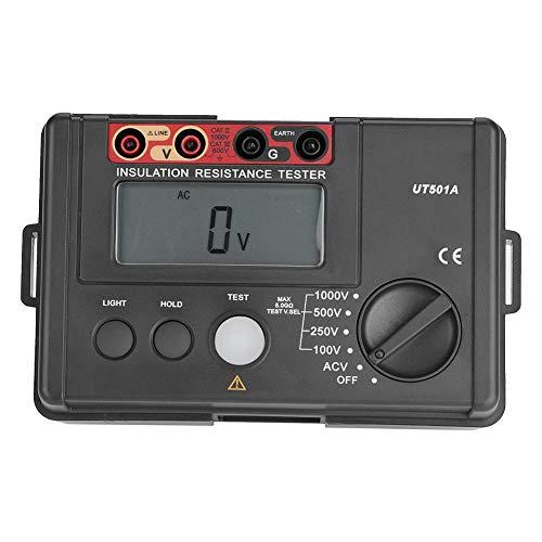Akozon UT501A 1000V Medidor de resistencia de aislamiento Probador de tierra Mipohmímetro Voltímetro LCD Pantalla de luz de alarma Zumbador