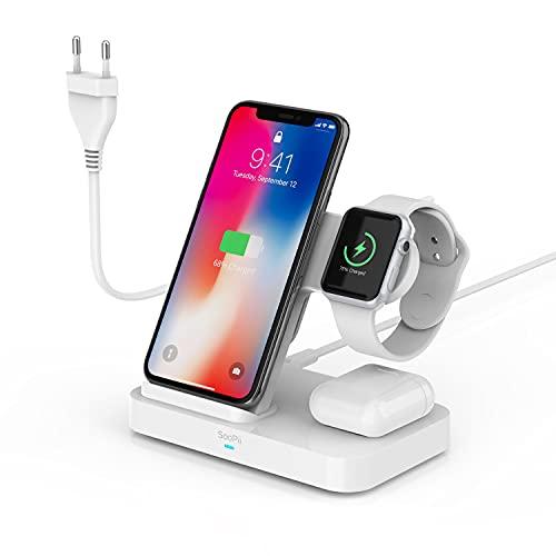 SooPii Caricabatterie Wireless, Stazione di Ricarica Wireless 3 in 1 con Adattatore AC Integrato per serie di Apple Watch, Supporto di Ricarica a Digiuno da 15W per iPhone, Galaxy e altro