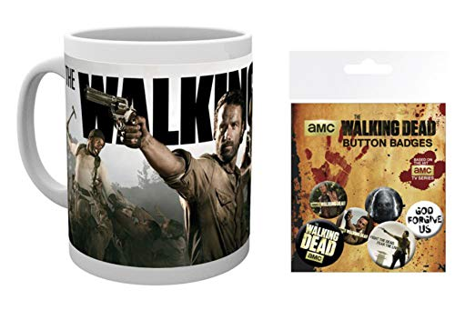 1art1 The Walking Dead, Rick Grimes Und Daryl Dixon Foto-Tasse Kaffeetasse (9x8 cm) Inklusive 1 The Walking Dead Button Pack (15x10 cm)