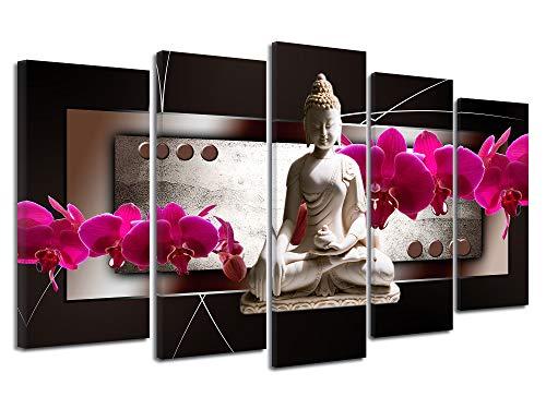 DECLINA Tableau Bouddha ET ORCHIDÉES - Impression sur Toile décoration Murale Zen - Déco Maison, Cuisine, Salon, Chambre Adulte - Rose 220x120 cm