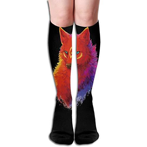 dfegyfr Tube Kniehohe Socken 50CM Fox Multicolour Painting Herren Over-The-Calf Tube Sportsocken Extra lange Kompressionsstrümpfe