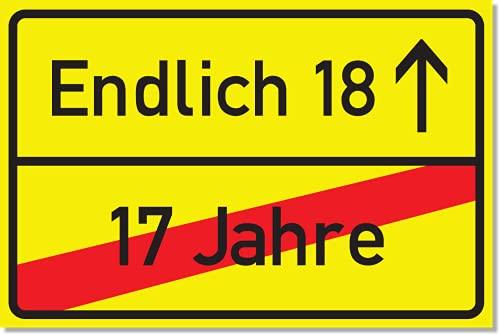 SIGN.ature 18 Jahre Ortsausgangsschild als Geschenkidee 18. Geburtstag 17 Jahre vorbei endlich 18 Geburtstagsparty Schild Kunststoffschild 20 x 30 x 0,3 cm