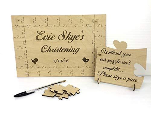 FSSS Ltd Puzzle en bois personnalisé pour baptême Oiseau Livre d'or, cadeau d'anniversaire, anniversaire de mariage, mariage rustique (40 pièces) (56 pièces 400 x 300 mm)