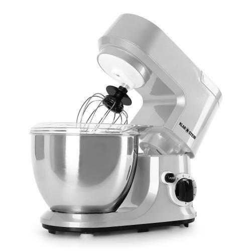 Klarstein Carina Argentea robot de cocina (recipiente de acero inoxidable de 4 litros, 3 accesorios para batir y amasar) - plateado