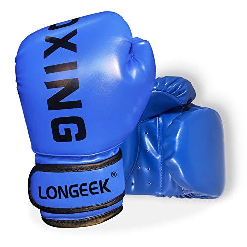 longeek Boxhandschuhe für Kinder 4Oz Punch Mitts Handschuhe Cartoon Sparring Trainingshandschuhe für den Kampf, Kick Boxing PU Blue