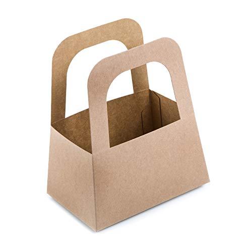 Logbuch-Verlag 25 cestini in carta kraft marrone con manico stabili sacchetti Pasqua Natale 14,5 x 17,5 x 10 cm idea confezione regalo regali bambini clienti famiglia promozionali fai da te bricolage