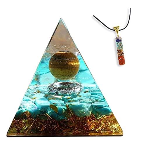 HCHL Pirámide de orgonita, Tigre Amarillo Globo Ocular Turquesa Gravedad pirámide Cristal energía curación meditación El Juego de pirámide de Cristal con generador de e