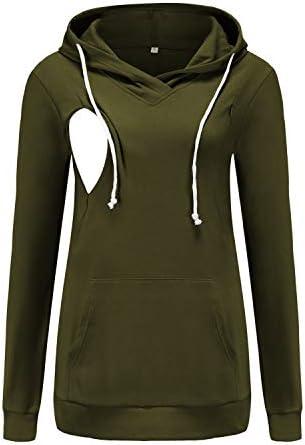 Ecavus Womens Fleece Maternity Nursing Sweatshirt Hoodie Zip up Pullover Breastfeeding Top with product image