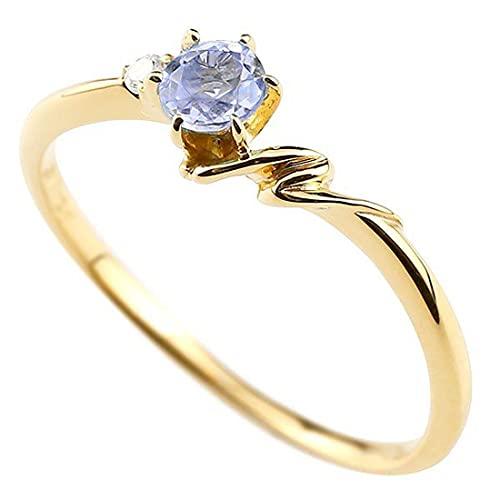 [アトラス]Atrus 指輪 レディース 18金 イエローゴールドk18 タンザナイト ダイヤモンド イニシャル ネーム N ピンキーリング 華奢 アルファベット 12月誕生石 22号