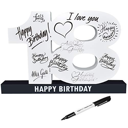 CREOFANT XL Gästebuch 18. Geburtstag · Gästebuch Happy Birthday · 37 cm x 24 cm · 18. Geburtstagsgeschenk · Geschenkidee 18 Geburtstag
