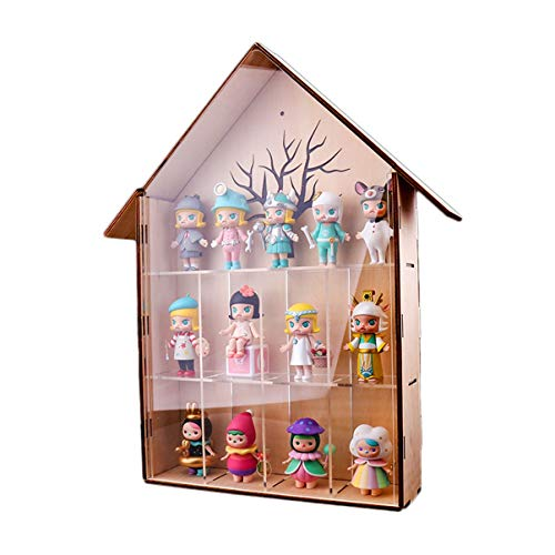 Bubble Matt Molly Doll Villa Wooden House Solid Wood Dustproof Transparent Display Rack Box Cabinet Small House Can Be Wall-Mounted (Size : with Door)