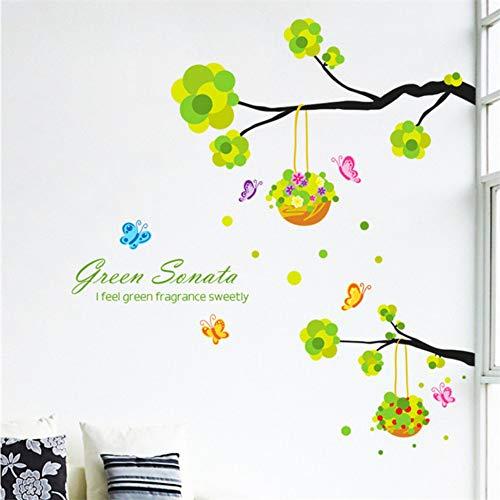 Cmhai zwarte takken groene bladeren mooie bloem mand muur stickers huis groene planten woonkamer slaapkamer hoek decoratie muurschildering maat 45 * 60 cm