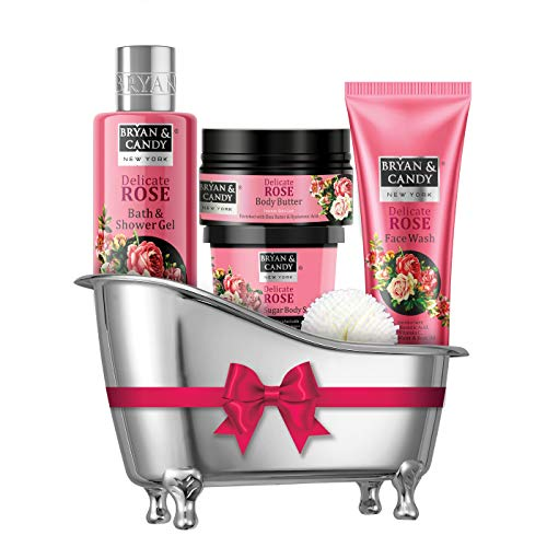 Bryan & Candy New York Delicate Rose Bath Tub Kit Gift For Women And Men Combo for Complete Home Spa Experience (Shower Gel, Body Butter, Sugar Scrub, Face Wash)