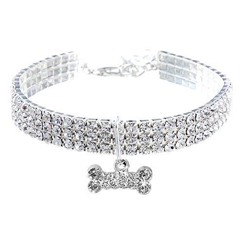 RayMinsino Pet Collar with Diamonds, Adjustable Crystal Diamond Elastic Bone Pendant Wedding cat and Dog Small pet Necklace Jewelry, White